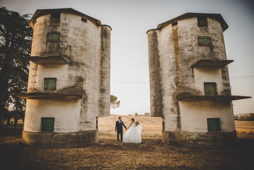 matrimonio a roma - tenuta dell'olmo - ritratto sposi al tramonto
